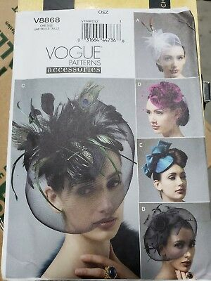 V8868 Vogue Sewing Pattern 8868 Fashion Formal Hats Clips Headbands One Size