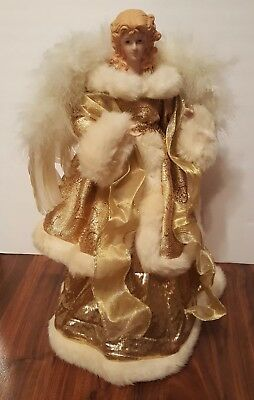 """Angel Christmas Tree Topper Gold Glitter White Fur Feather Wings 16"""" Table Top"""