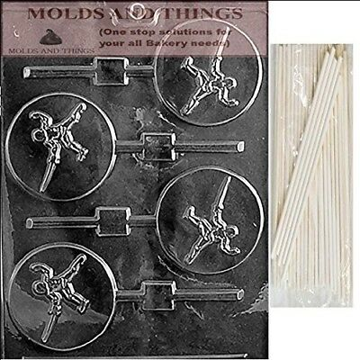 FENCING LOLLY Chocolate Candy Mould With © Moulding Instruction + 50 Lollipop