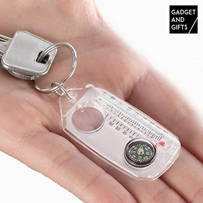 Keyring with Compass, Magnifier and Thermometer Gadget and Gifts