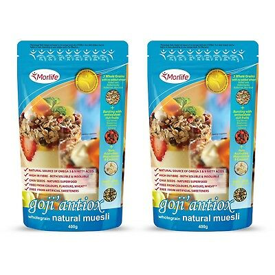 Morlife Goji Antiox Wholegrain Natural Muesli | 400G x 2