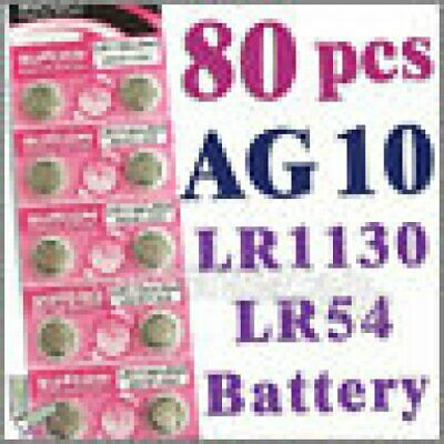80 pcs AG10 1.55V LR1130 LR54 189 Alkaline Button Coin Cells Battery Suncom