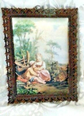 Vintage Ornate Brass Frame with Satin Picture