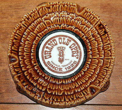 70'S Grand Ole Opry WSM Microphone Country Music Nashville TN Tree Bark Ashtray