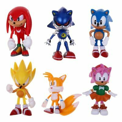 6Pcs Sonic Classic The Hedgehog PVC Action Figure Model Kids Doll Cake Topper