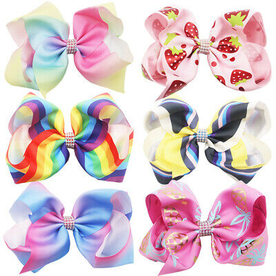 """6Pcs 8"""" Large Bows Grosgrain Ribbon Hair Bows Alligator Clips for Girls Toddlers"""