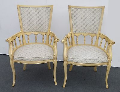 Pair Unique Vintage Chic Shabby FRENCH Country PROVINCIAL White SIDE ARM CHAIRS