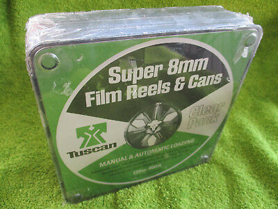 Tuscan 400 ft Super 8 Reels and Cans, 3 pack, new old stock.