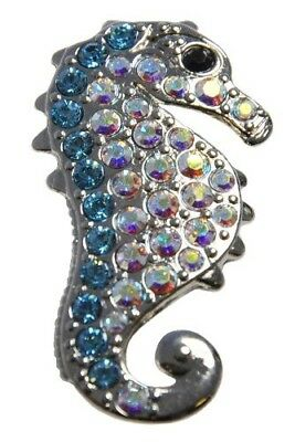 (Blue/Clear) - Navika Seahorse Crystal Ball Marker with Hat Clip