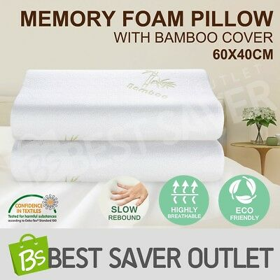 New 2 x Visco Elastic Memory Foam Pillow Home Hotel Bedding with Bamboo Cover