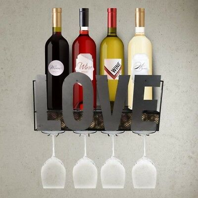 LivingEasy Wall Mounted Or Countertop Wine Rack With 4 Long Stem Glass Holder