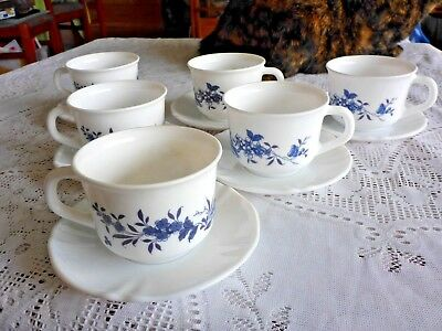 Arcopal France Milk Glass Cups And Saucers X 6 Blue Flower