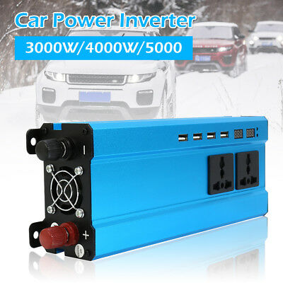 Solar Power Inverter 4000W LED 12/24V DC to 110/220V AC Pure Sine Wave Converter
