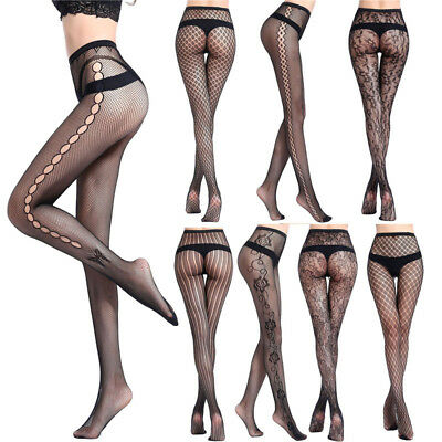 Women Black Lace Fishnet Hollow Out Floral Pantyhose Tights Stocking Lingerie