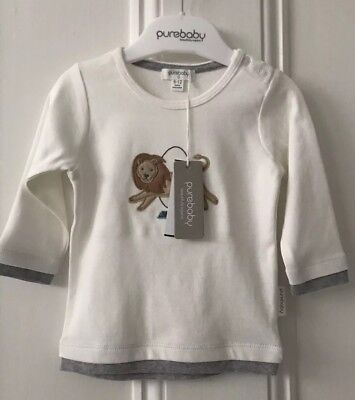 PureBaby Baby Lion Tamer Long Sleeve Tee Size 6-12 Months RRP$34.95