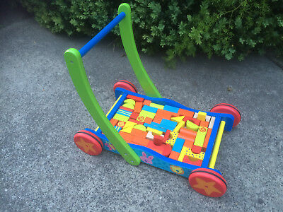 Wooden Trolley with Blocks and Walker