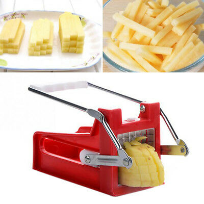 Stainless Steel Potato Chipper French Fries Slicer Chip Cutter Chopper 2 Blades