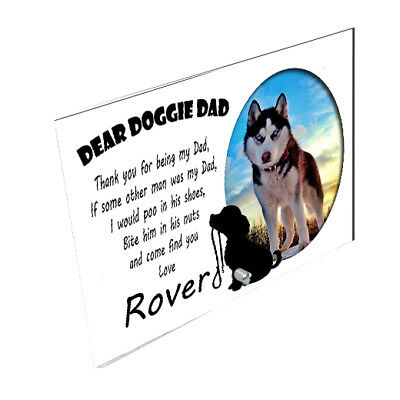 """Personalised Dear Doggie Dad, Thank You, 5"""" x 7"""" Landscape Toughened Glass Panel"""