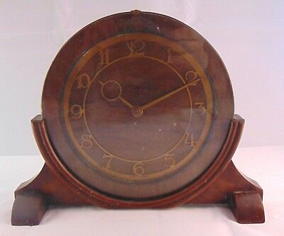 Vintage Art Deco Sectric Smiths Wooden Mantle Electric Clock Old Wiring