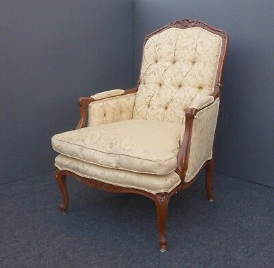 Vintage French Provincial Country Carved Wood Tufted Beige Down Accent Chair