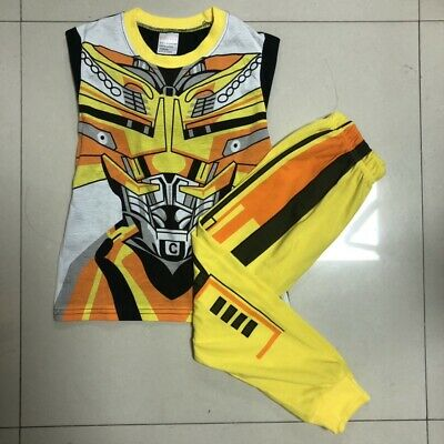 Bumblebee Transformer Boys Toddler Kids Pyjamas Pajamas T-shirt Costume Set 1~7Y