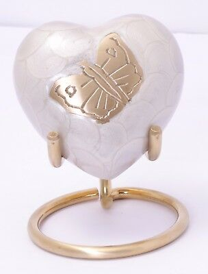 Mini Urn For Ashes Cremation Memorial Small Heart Keepsake Urn white Box & Stand