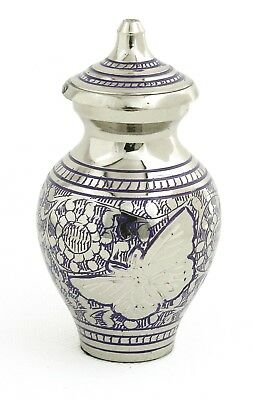 Mini Cremation Urn For Ashes Small Purplish Blue Butterfly Memorial Keepsake urn