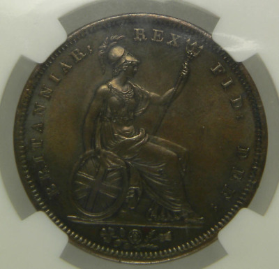 1826 AUNC George IV Copper Penny Coin NCG MS62
