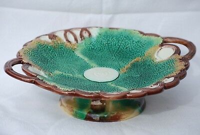 Antique Majolica Comport 31.5cm Wide Green Leaf Two Handles Compote
