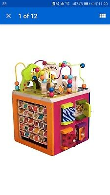 B Toys Zany Zoo Wooden Toddler Activity Cube Handcrafted Interactive Learning