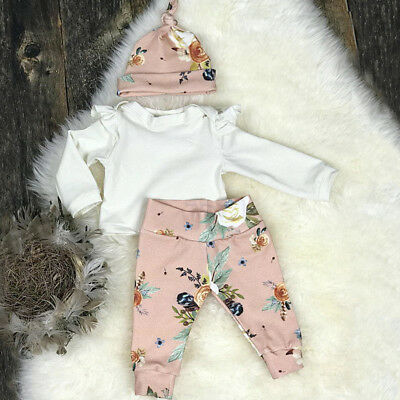 AUAU STOCK Toddler Kids Baby Girls Outfits Clothes T-shirt Tops Dress+Long Pants