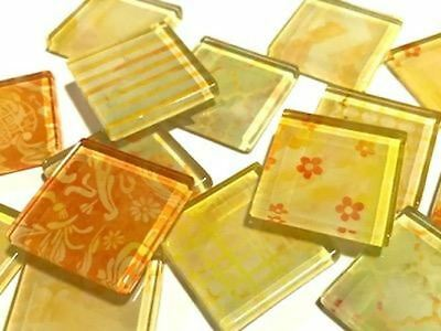 Handmade Yellow Patterned Glass Tiles 2.5cm - Mosaic Tiles Supplies Craft