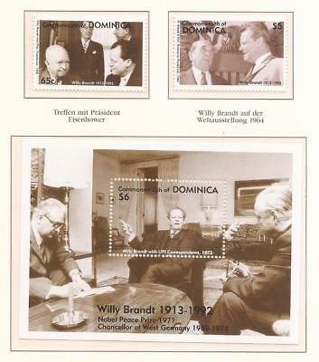 WILLY BRANDT  -  COMPLET MNH SET + SHEET  ( Dominica Issue )