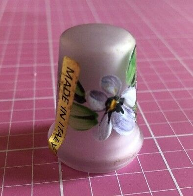 Thimble Frosted Lavender Glass Floral Made In Italy
