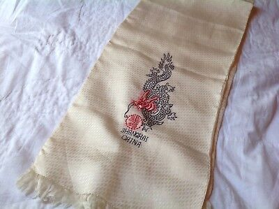 Vintage Chinese Embroidered Shanghai China , (1940's) Dragon Scarf