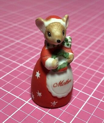 Thimble Bisque Christmas Mother Mouse