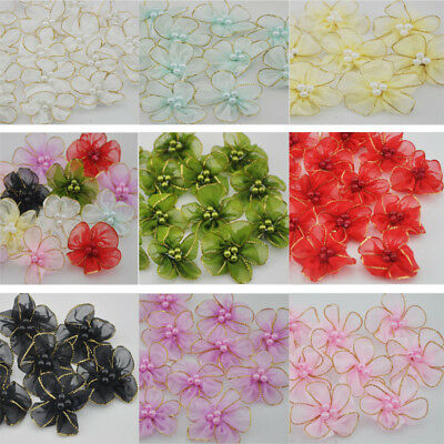 """10/50 pcs Pearl satin ribbon flowers bows with Appliques Craft DIY Wedding 1.96"""""""