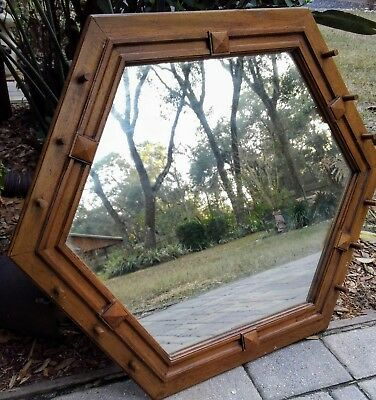 Vintage mission style wall mirror pegged oak wood rustic lodge arts & crafts
