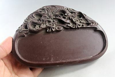 7.1'' Chinese Purple jade hand carved dragon statue Ink Stone 7280