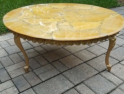 Vintage French Louis XVI coffee table gesso marble slate top baroque Mid-century