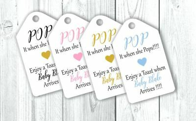 Personalised Baby Shower Pop When She Pops Favour Tags