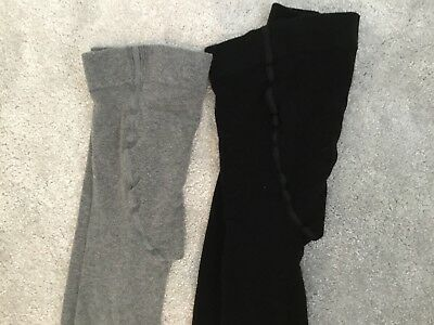 2 X Pairs Of  Maternity Thights - One Grey, One Black - Size Small