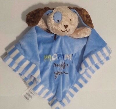 Wishes and Kisses Baby Security Blanket Puppy Blue Mommy Ruffs You EUC