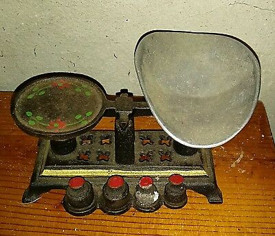 Antique Miniature Cast Iron Candy Scale w/ Weights & Aluminium Pan ~Complete Set