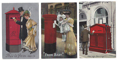 British Post Boxes - 3x Old Postcards Showing Mail Boxes