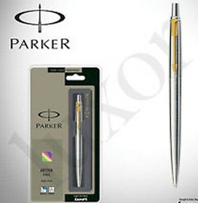 Parker Jotter Stainless Steel GT Ball Point Pen(Gold) Trim Fine Blue Ink.F.S