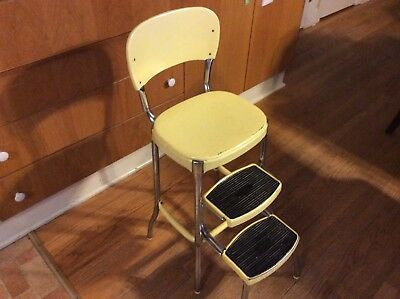 Antique MidCentury Stylaire Counter Step Stool Chair Yellow
