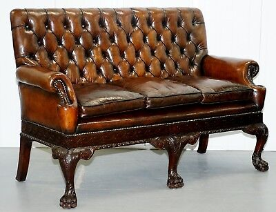 Victorian Georgian Irish Brown Leather Chesterfield Sofa Lion Hairy Paw Feet
