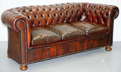 1930's Made In England Hand Dyed Restored Cigar Brown 3 Seat Chesterfield Club
