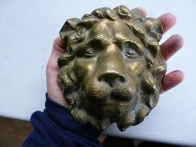 Vintage Brass Lions Head Finial Furniture Ormolu Hardware Mount  Gilt Rococo